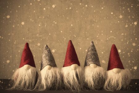 Gnomes, Retro Wall With Copy Space And Snowflakes