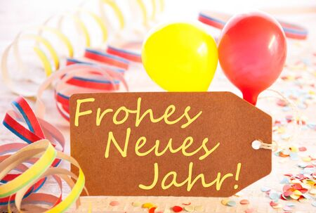 Party Label, Balloon, Streamer, Frohes Neues Means Happy New Year Stock Photo