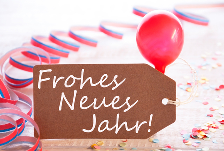 Party Label, Balloon, Frohes Neue Jahr Means Happy New Year