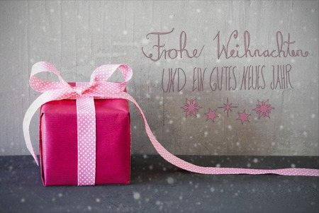 Pink Present, Calligraphy, Snowflakes, Gutes Neues Means Happy New Year