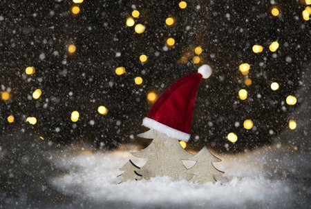 christmas tree santa hat snowflakes lights snow stock photo 89352812