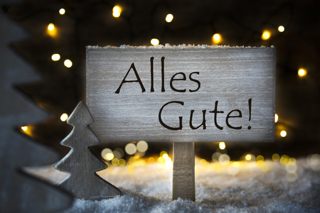 White Christmas Tree, Alles Gute Means Best Wishes, Snowflakes