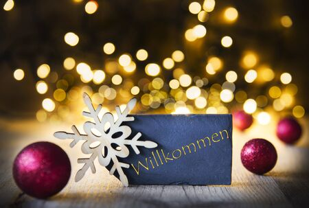 Christmas Background, Lights, Willkommen Means Welcome