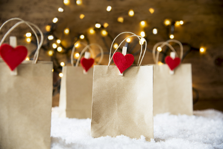 Christmas Shopping Bag, Snow, Lights, Copy Space