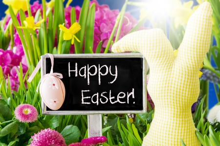 Sign With English Text Happy Easter. Sunny Spring Flowers Like Daisy And Narcissus. Easter Decoration Like Egg And Bunny. Stock Photo