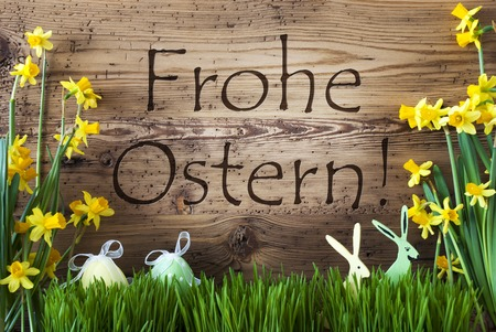 Egg And Bunny, Gras, Frohe Ostern Means Happy Easter Stock Photo