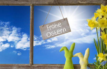 Window, Blue Sky, Frohe Ostern Means Happy Easter Stock Photo