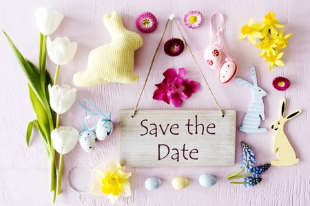Easter Flat Lay, Text Save The Date