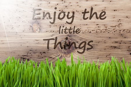 Bright Sunny Wooden Background, Gras, Quote Enjoy The Little Things Stock Photo