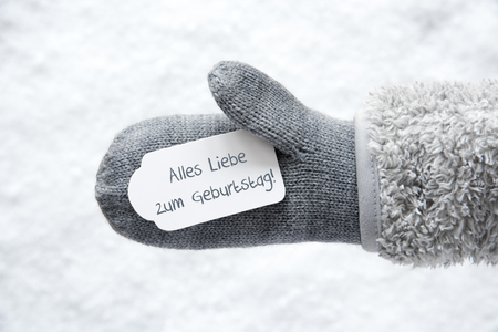 Wool Glove, Label, Snow, Geburtstag Means Birthday Stock Photo