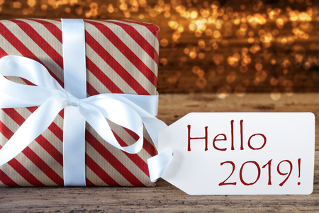 Atmospheric Christmas Gift With Label, English Text Hello 2019