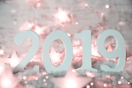 Shiny Pink Fairy Lights, Stars, 2019 For Happy New Year