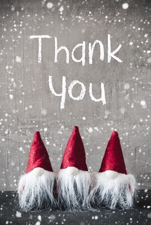Three Red Gnomes, Cement, Snowflakes, Text Thank You