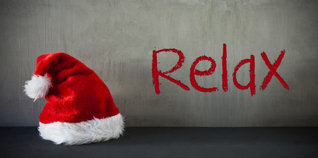 Santa Hat, Text Relax, Gray Cement Background