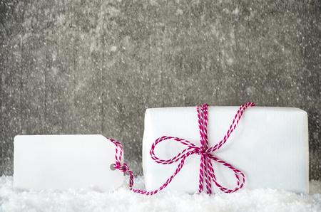 White Gift, Snow, Label, Copy Space, Snowflakes