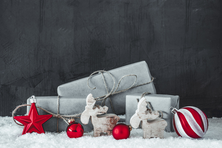 Green Christmas Gifts, Snow, Black And White Decoration With Red Hot Spots 写真素材