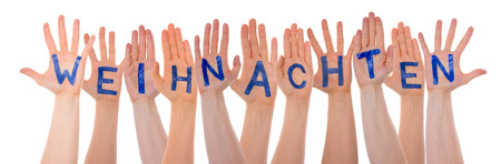 Many Hands Building Word Weihnachten Means Christmas, On White Stock Photo