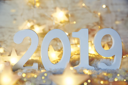 Sparkling Fairy Lights, Stars, 2019 For Happy New Year Stock Photo