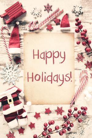 Nostalgic Christmas Flat Lay, Text Happy Holidays
