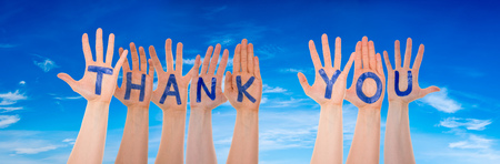 Many Hands Building Word Thank You, Blue Sky Reklamní fotografie
