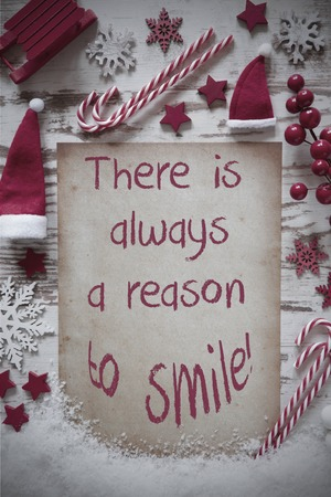Retro Christmas Flat Lay, Snow, Quote Always Reason To Smile