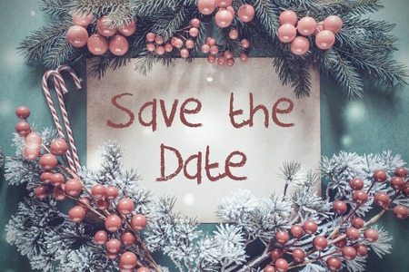 Christmas Garland, Fir Tree Branch, Snowflakes, Text Save The Date