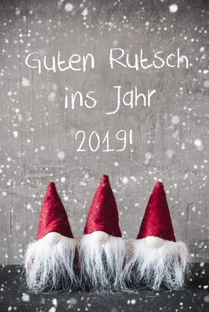 Red Gnomes, Snowflakes, Guten Rutsch Means Happy New Year 2019 Stock Photo