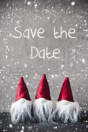 Three Red Gnomes, Cement, Snowflakes, Save The Date