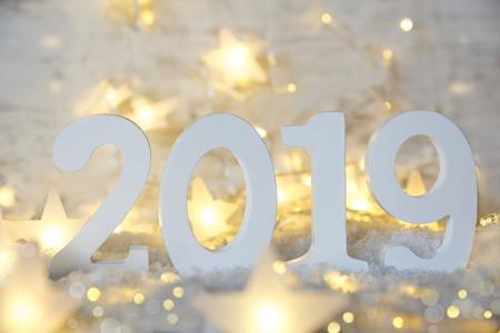Fairy Lights, Stars, Shiny 2019 For Happy New Year