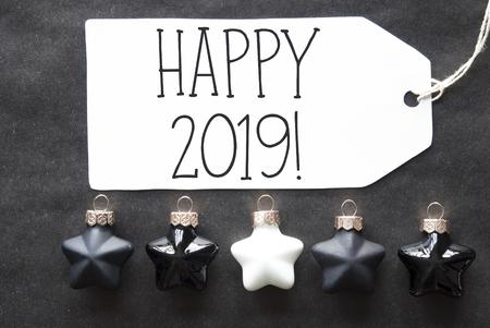Black Christmas Tree Balls, English Text Happy 2019