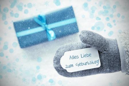 Turquoise Gift, Glove, Geburtstag Means Happy Birthday, Snowflakes