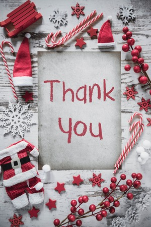 Christmas Flat Lay, Vertical Paper, Thank You Stock Photo - 111689223