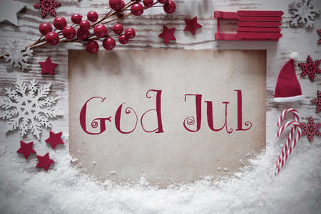 Red Christmas Decoration, Snow, God Jul Means Merry Christmas