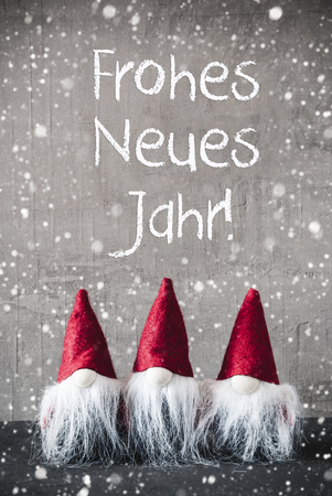 Red Gnomes, Cement, Frohes Neues Jahr Means Happy New Year