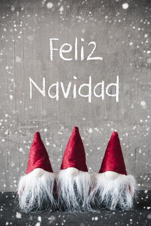 Red Gnomes, Snowflakes, Feliz Navidad Means Merry Christmas