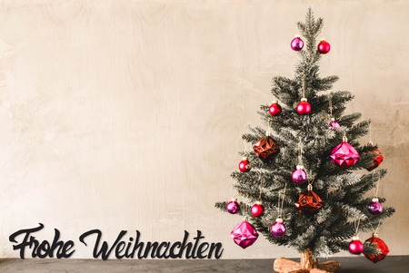 Tree With Purple Balls, Calligraphy Frohe Weihnachten Means Merry Christmas