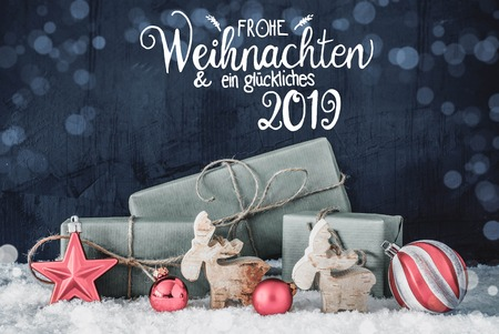Christmas Decoration, Calligraphy Glueckliches 2019 Means Happy 2019, Bokeh