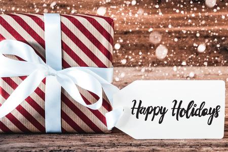 Christmas Gift, English Calligraphy Happy Holidays, Snowflakes