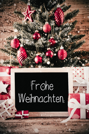 Vertical Tree, Gifts, Calligraphy Frohe Weihnachten Means Merry Christmas