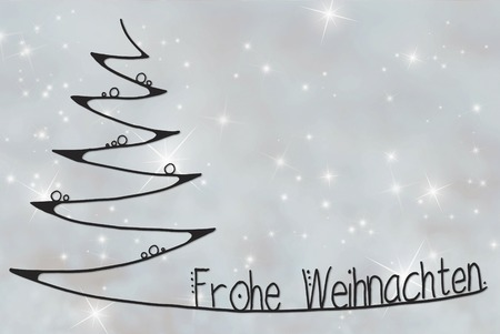 Tree, Frohe Weihnachten Means Merry Christmas, Gray Background