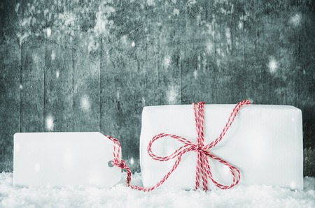 White Gift, Label, Copy Space, Snow, Grungy Cement
