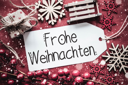 Flat Lay, Rustic Decoration, Calligraphy Frohe Weihnachten Means Merry Christmas