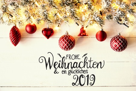 Red Balls, German Calligraphy Glueckliches 2019 Means Happy 2019