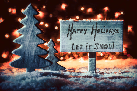 Wooden Sign, Tree, Snow, Calligraphy Happy Holidays, Let It Snow Stock fotó