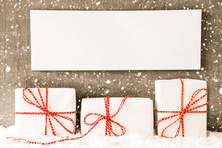 Three White Gifts, Sign, Copy Space, Snow