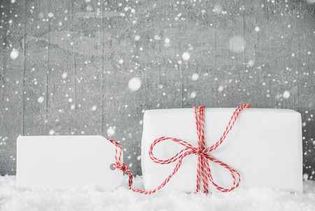 White Gift, Label, Copy Space, Snowflakes, Grungy Cement