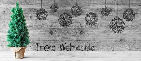 Tree, Ball, Frohe Weihnachten Means Merry Christmas, Gray Wood Stock Photo