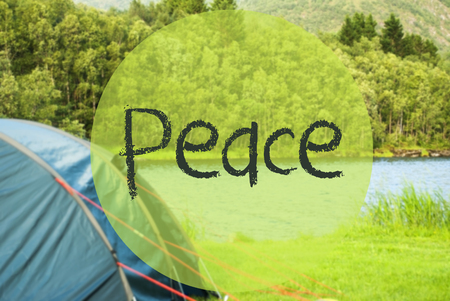 Lake Camping, Text Peace, Norway, Green Grass Meadow 版權商用圖片