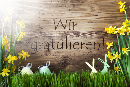 Sunny Easter Decoration, Grass, Wir Gratulieren Means Congratulations