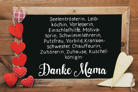 Chalkbord, Red And Yellow Hearts, Calligraphy Danke Mama Means Thank You Mom Stock Photo